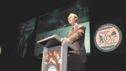 Teck Cominco president and CEO Donald Lindsay delivers a speech concerning his company's plans at the recent Diggers and Dealers convention in Kalgoorlie, Western Australia.