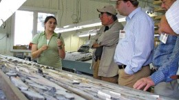 BY RYAN WALKERAlexis Minerals geologist Sophie Lafontaine discusses core from the Louvex VMS project, near the Louvicourt copper-zinc mine, not far from Val d'Or, Que.