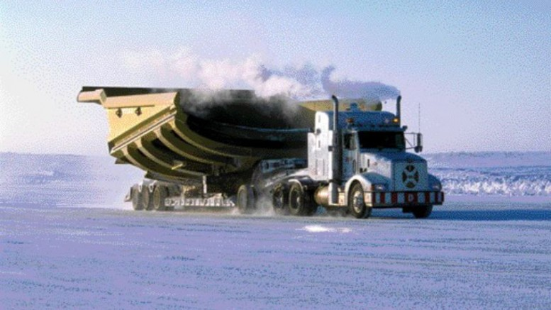 ABER DIAMONDThis past winter's shortened ice road season in the Arctic delayed the transport of large items, and forced De Beers to fly others in at Gahcho Kue at a higher cost. Here a 24-wheeler hauls a 200-tonne payload compartment of a much larger truck across a winter road to the Diavik diamond mine, 300 km northeast of Yellowknife, N.W.T. Diavik Diamond Mines is owned 40% by Aber Diamond Mines, with the remainder held by Rio Tinto.