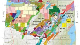 A map outlining claims in the Athabasca basin. The image is from Exploration GIS, a Saskatoon-based exploration consulting firm with extensive experience in the basin. The company has provided products to Saskatchewan's mining industry since 1988.