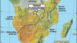 A map showing the location of Tenke Fungurume in the Democratic Republic of the Congo.