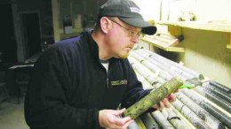 Metalcorp's chief operating officer, Aubrey Eveleigh, examines a piece of massive sulphide mineralization from the BL14 prospect in the company's core shack in Thunder Bay, Ont.