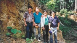 BY VIVIAN DANIELSONMetallurgist Jerry Alo, John Felderhof, project manager Michael De Guzman, and geologist Cesar Puspos at the Busang gold project in East Kalimantan, Indonesia, in 1996.