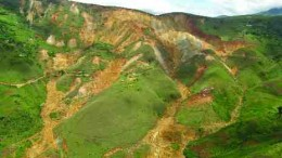 BY ANTHONY VACCAROThe near-surface Twangiza deposit (above) will be exploited by making vertical slices into the mountain to form a large open pit. The deposit has a combined measured, indicated and inferred resource of over 6 million oz. gold.