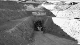 The tunnel entrance at the El Morro copper-gold project in Chile.