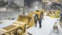 Underground at Agnico-Eagle Mines' Goldex gold mine, in Val d'Or, Que. The company is using load-haul-dump loaders with buckets twice the size of the industry average.