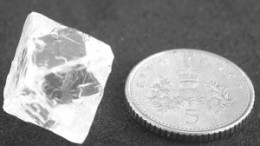 The 25.13-carat gem-quality diamond found in drilling at Mountain Province Diamonds' and De Beers' Gahcho Ku project, in the Northwest Territories.