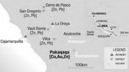 A map showing the location of Tiomin Resources' 49%-owned Pukaqaqa copper-gold deposit in Peru, one of the assets the company would bring to the table in a proposed merger with Cadiscor Resources.