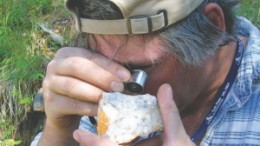 Shawn Ryan, the prospector who discovered Underworld Resources' White Gold project in the Yukon, examines core on site.