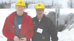 Vernon Coffin, a technical consultant with Northgate Minerals (left), and Tom Obradovich, president and chief executive of the former Young-Davidson Mines, who consolidated the ground position around the Young-Davidson mine before selling it to Northgate Minerals.