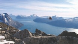 Helicopter reconnaissance over the Aappalaartoq mountain on Nuukfjord Gold's Nuukfjord property in Greenland.