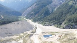 Flying over Romios Gold Resources' remote Trek project, near the Galore Creek copper-gold project in northwestern British Columbia.