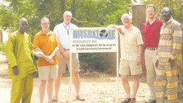 Riverstone president and CEO Mike McInnis (third from right) and colleagues at the Karma project in Burkina Faso.