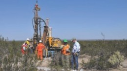 Blue Sky Uranium exploration manager Bruce Smith with drillers at Anit.