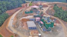 An aerial view of Monument Mining's mill at the Selinsing gold mine in Pahang state, Malaysia.