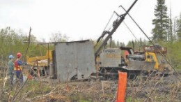 Drillers at the Maritime-Cadillac gold project in Quebec's Abitibi region.
