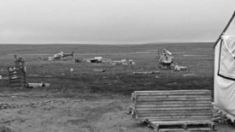 Helicopters near the camp at Peregrine Diamonds' Chidliak project on the south end of Baffin Island, Nunavut.