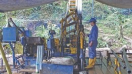 A driller at work at Continental Gold's Buritica gold project in Colombia.
