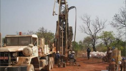 Drillers at African Gold Group's Kobada gold project in the Kangaba region of Mali. Photo by African Gold Group