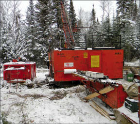 A drill rig at Probe Mines' Borden Lake gold project near Chapleau, Ont. Photo by Probe Mines