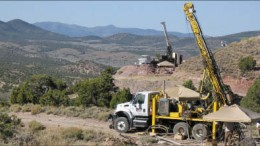 Drill rigs at Midway Gold's Pan gold project in White Pine Cty., in east-central Nevada. Photo by Midway Gold
