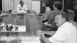 Guyana's Prime Minister Samuel Hinds (left) meets with Sandspring Resources' management. Photo by Sandspring Resources