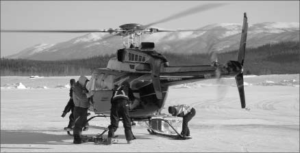 A crew getting ready to stake for Constantine Metal Resources and Carlin Gold in the Yukon. Photo by Carlin Gold