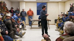 San Gold president and CEO George Pirie (centre) talks to miners at the Rice Lake gold mine, about 230 km northeast of Winnipeg, Man. Photo by San Gold