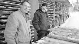 From left, VMS Ventures' advisory board member Alan Bailes and vice-president of exploration Mark Fedikow at the Reed Lake polymetallic project's core shack. Photo by VMS Ventures