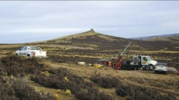 A diamond drill rig at Mirasol Resources' Joaquin silver-gold project in southern Argentina's Deseado Massif. Photo by Mirasol Resources
