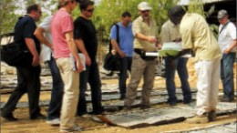 Analysts examine core at Orezone Gold's Bombore gold project in Burkina Faso. Photo by Orezone Gold