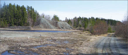 Temex Resources' silver tailings from the Miller Lake O'Brien mine in northeastern Ontario. Photo by Temex Resources