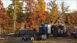 Drillers working at Revolution Resources' Champion Hills gold-silver project in North Carolina in 2010. Photo by Revolution Resources