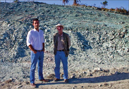 Verde Potash president and CEO Cristiano Veloso (left) and geologist Mario Viegas at the Cerrado Verde potash project in Minas Gerais, Brazil. Photo by Ian Bickis