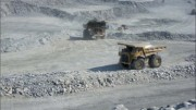 Trucks at Agnico-Eagle Mines' Meadowbank gold mine in Nunavut. Photo by Salma Tarikh