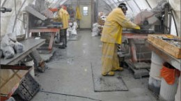 Workers cut core at Seabridge Gold's Courageous Lake gold project in the Northwest Territories. Photo by Seabridge Gold