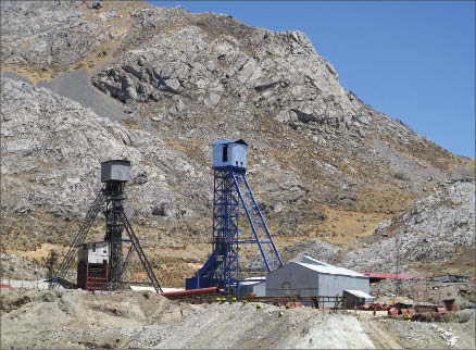 Headframes and winch houses at Mascota shaft at Dia Bras Exploration's Yauricocha mine in Yauyos province, Peru. Photo by Dia Bras Exploration