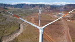 A view of Barrick Gold's new 10-turbine, 20-megawatt Punta Colorada wind farm in Chile. Photo by Barrick Gold