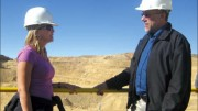 Coeur d'Alene Mines' investor relations coordinator Carrie Cook and senior vice-president of exploration Don Birak at the Rochester open-pit silver mine in Nevada. Photo by Salma Tarikh