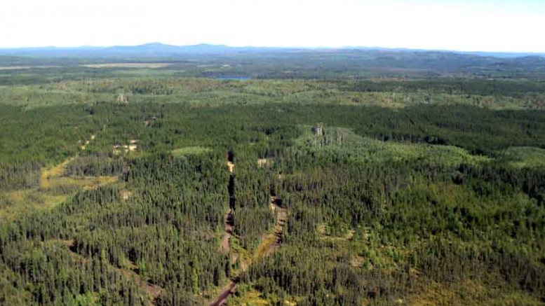 An aerial view looking east at the Windjammer gold zones at Moneta Porcupine's Golden Highway gold project in northern Ontario. Source: Moneta Porcupine