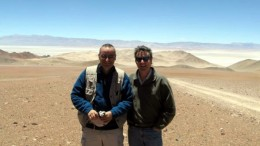 Geologist and project manager Guillermo Almandoz (left) and investor Ross Beaty at Lumina Copper's Taca Taca project in Argentina's Salta province. Photo by Trish Saywell