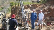 First Mexican Gold CEO Jim Voisin (far right) and geologist Toms Tapia Figueroa observing a driller at work at the Guadalupe gold project in Mexico. Photo by Salma Tarikh