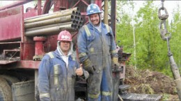 Drillers on a rig at Coalspur's flagship Vista coal project in Alberta. Photo by Coalspur