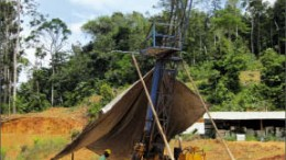 A drill rig at Guyana Goldfields' Aurora gold project in Guyana. Photo by Guyana Goldfields