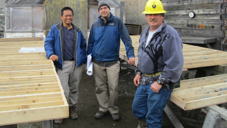 At Prophecy Platinum's Wellgreen nickel-copper-PGM project in the Yukon, from left: field geologist Rex Camit; senior geologist Danniel Oosterman; and project geologist Rory Calhoun. Photo by Matthew Allan