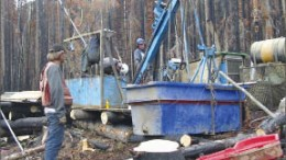 The drill crew preparing a rig at Brixton Metals' Thorn gold project. Photo by Brixton Metals