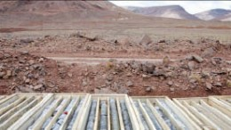 Core boxes at the Caspiche project in northern Chile's Maricunga gold district. Credit: Exeter Resource.
