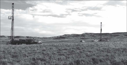 Drill rigs at Strathmore Minerals' Gas Hills uranium project in Wyoming. Photo by Strathmore Minerals