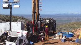 Drillers at work at Terraco Gold's Almaden gold project, 126 km northwest of Boise, Idaho. Photo by Terraco Gold