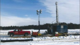 A drill rig at Magma Metals' Thunder Bay North platinum-palladium-copper-nickel project, located 50 km northeast of Thunder Bay, Ontario. Photo by Magma Metals